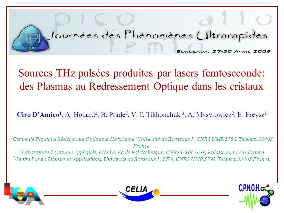 Sources THz pulsées produites par lasers femtoseconde: