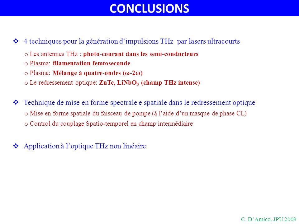 CONCLUSIONS 4 techniques pour la génération d'impulsions THz par lasers ultracourts. Les antennes THz : photo-courant dans les semi-conducteurs.