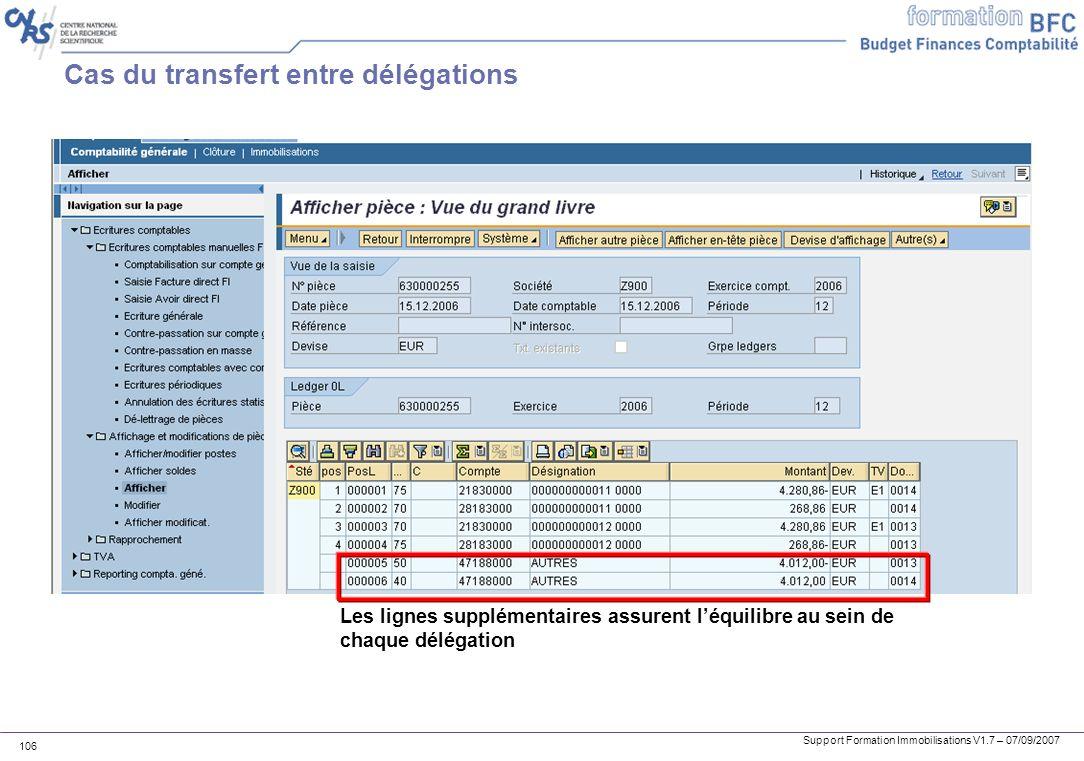 Cas du transfert entre délégations