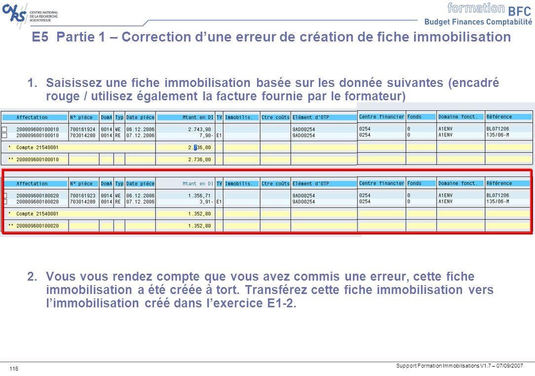 E5 Partie 1 – Correction d'une erreur de création de fiche immobilisation