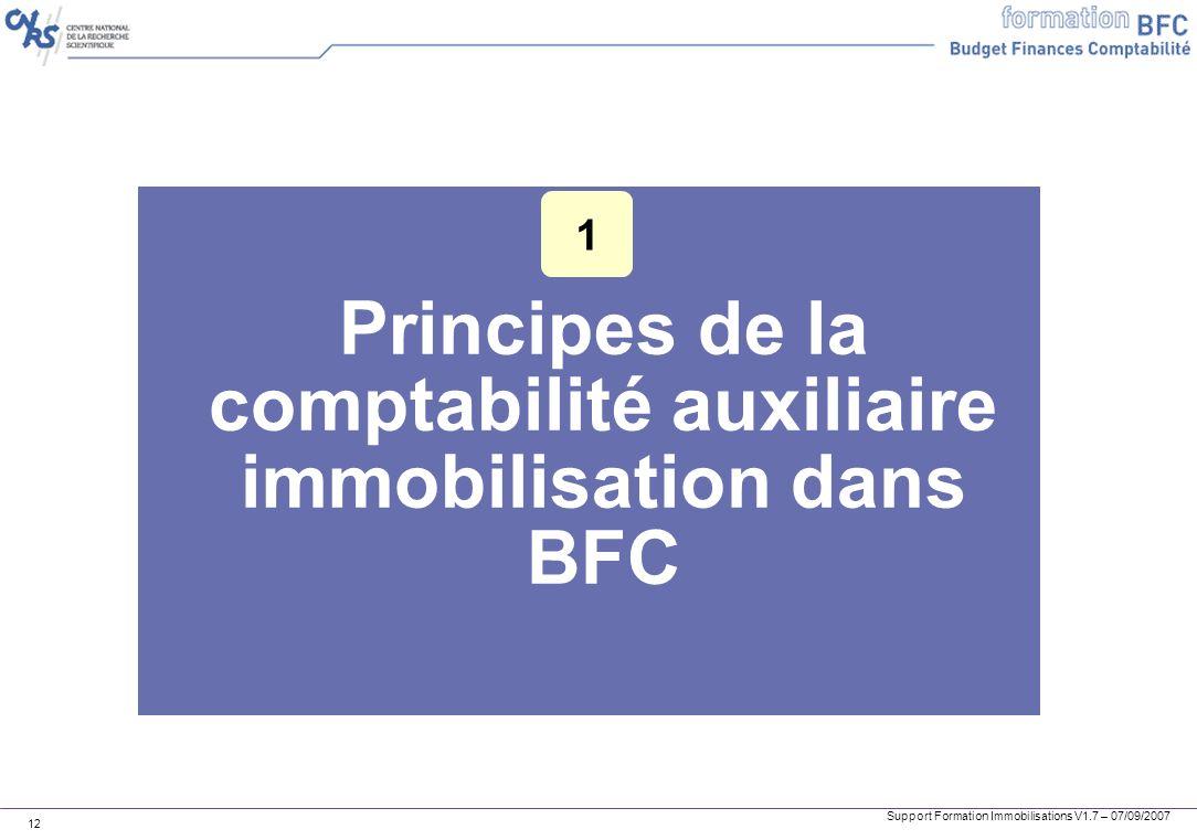 Principes de la comptabilité auxiliaire immobilisation dans BFC
