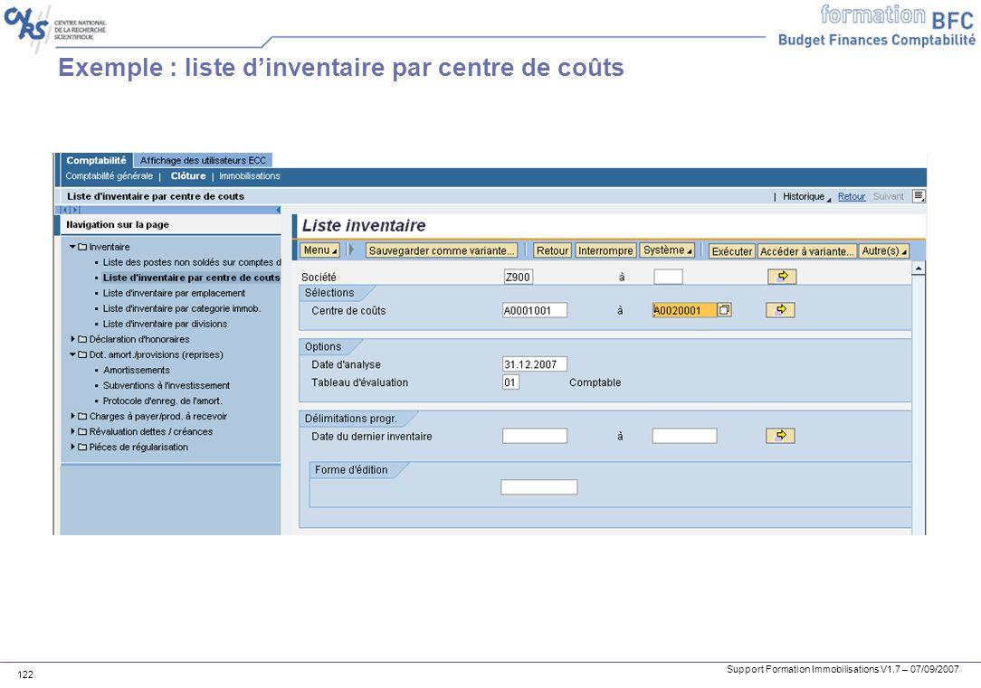 Exemple : liste d'inventaire par centre de coûts
