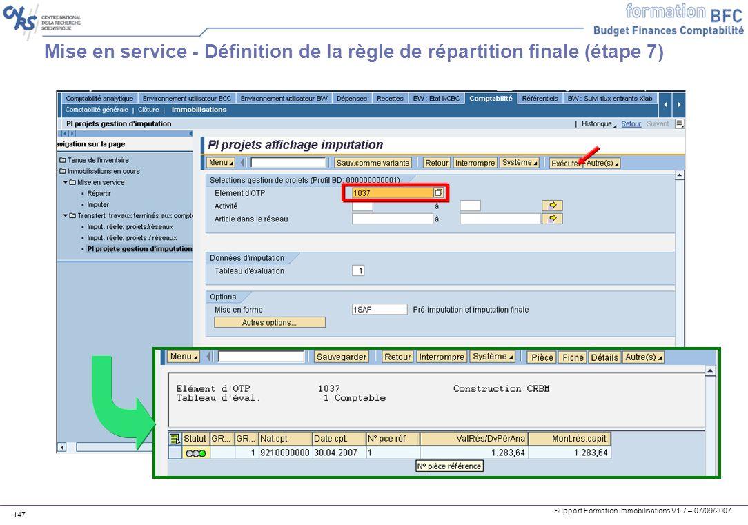 Mise en service - Définition de la règle de répartition finale (étape 7)