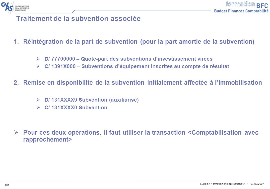 Traitement de la subvention associée