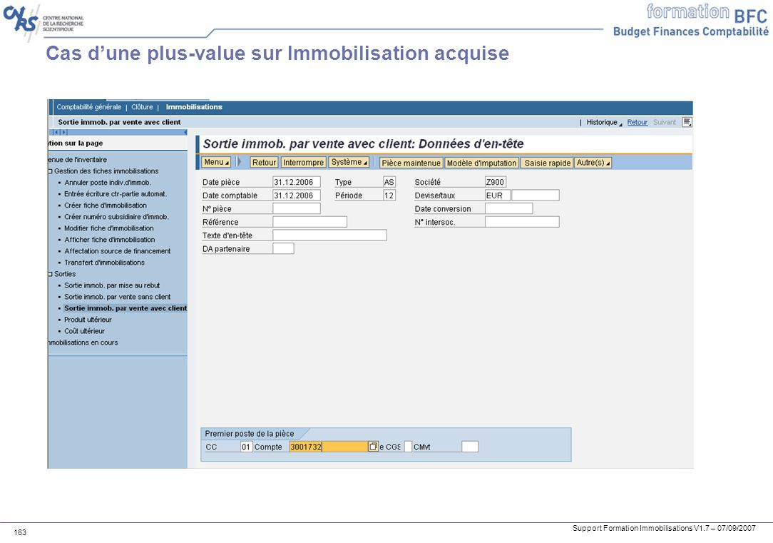 Cas d'une plus-value sur Immobilisation acquise