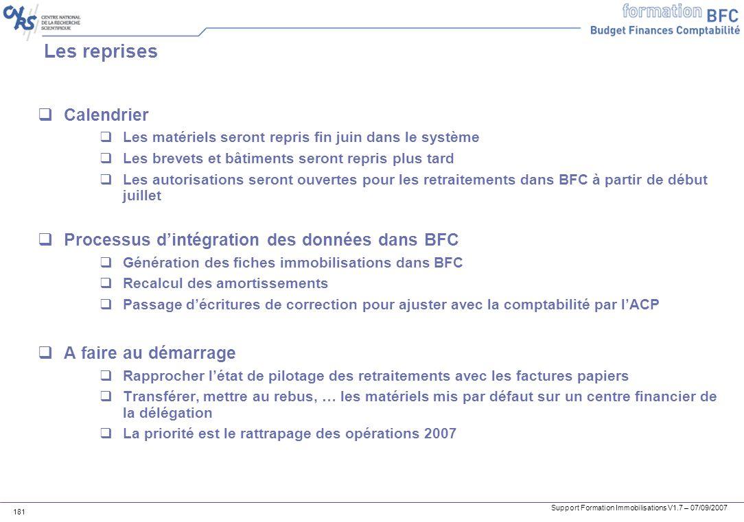 Les reprises Calendrier Processus d'intégration des données dans BFC
