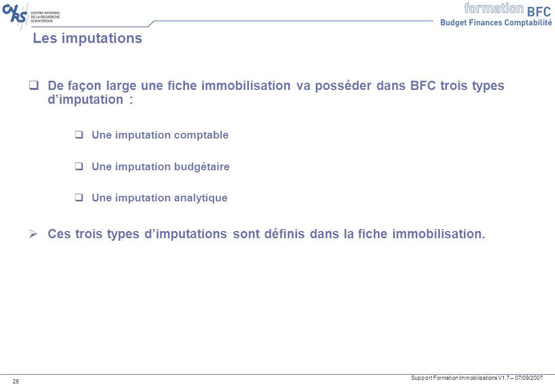 Les imputationsDe façon large une fiche immobilisation va posséder dans BFC trois types d'imputation :