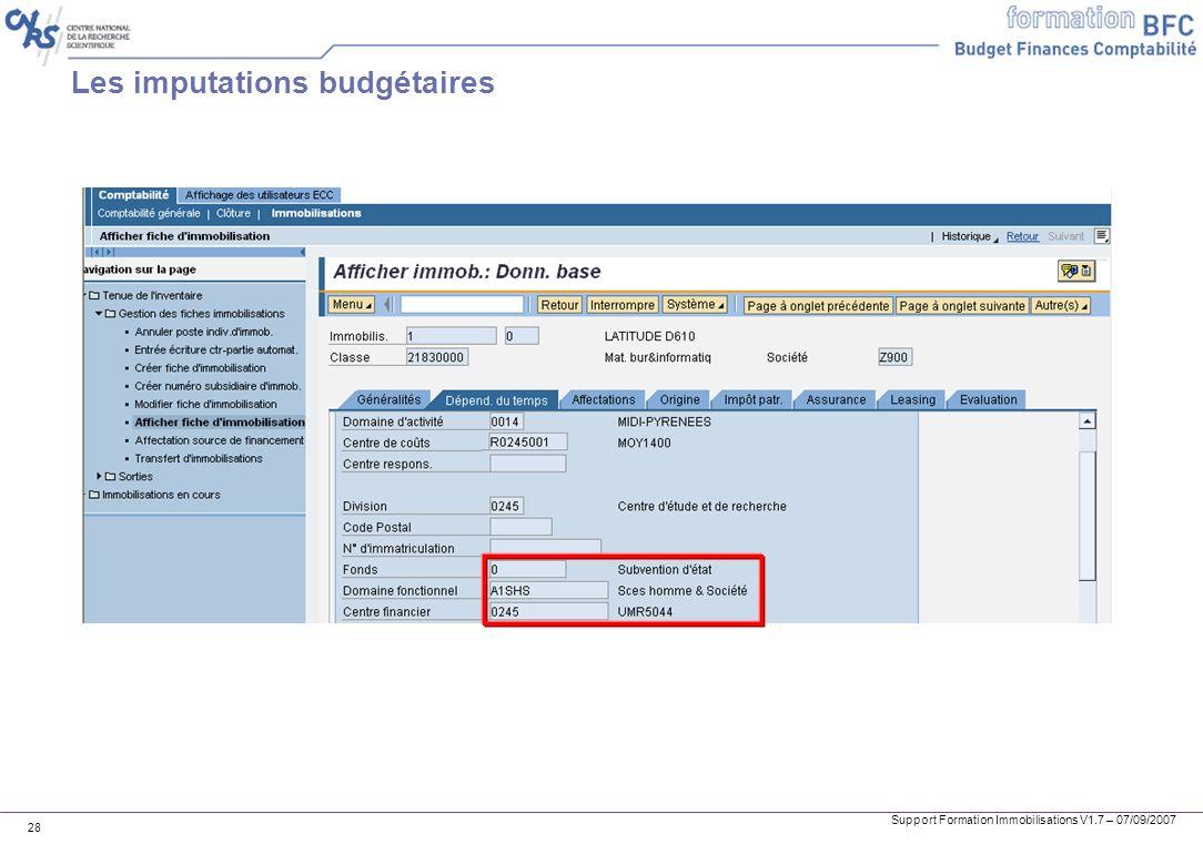 Les imputations budgétaires
