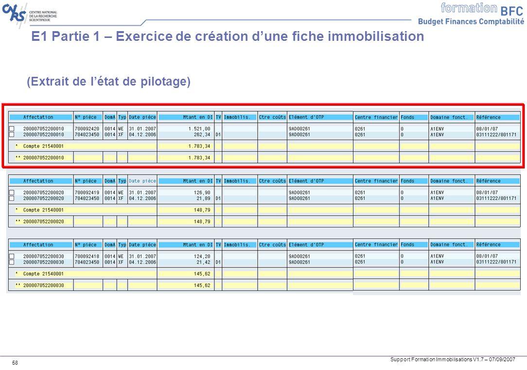 E1 Partie 1 – Exercice de création d'une fiche immobilisation