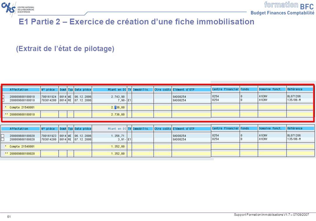 E1 Partie 2 – Exercice de création d'une fiche immobilisation
