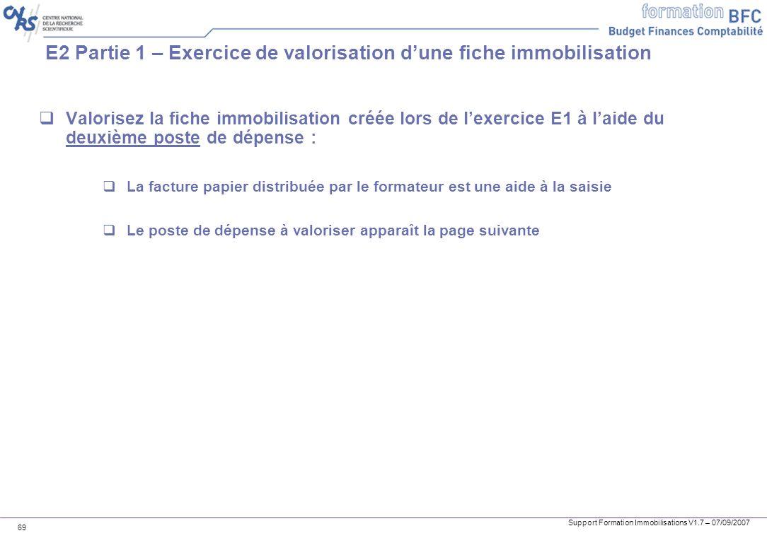E2 Partie 1 – Exercice de valorisation d'une fiche immobilisation