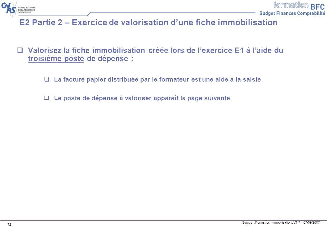 E2 Partie 2 – Exercice de valorisation d'une fiche immobilisation