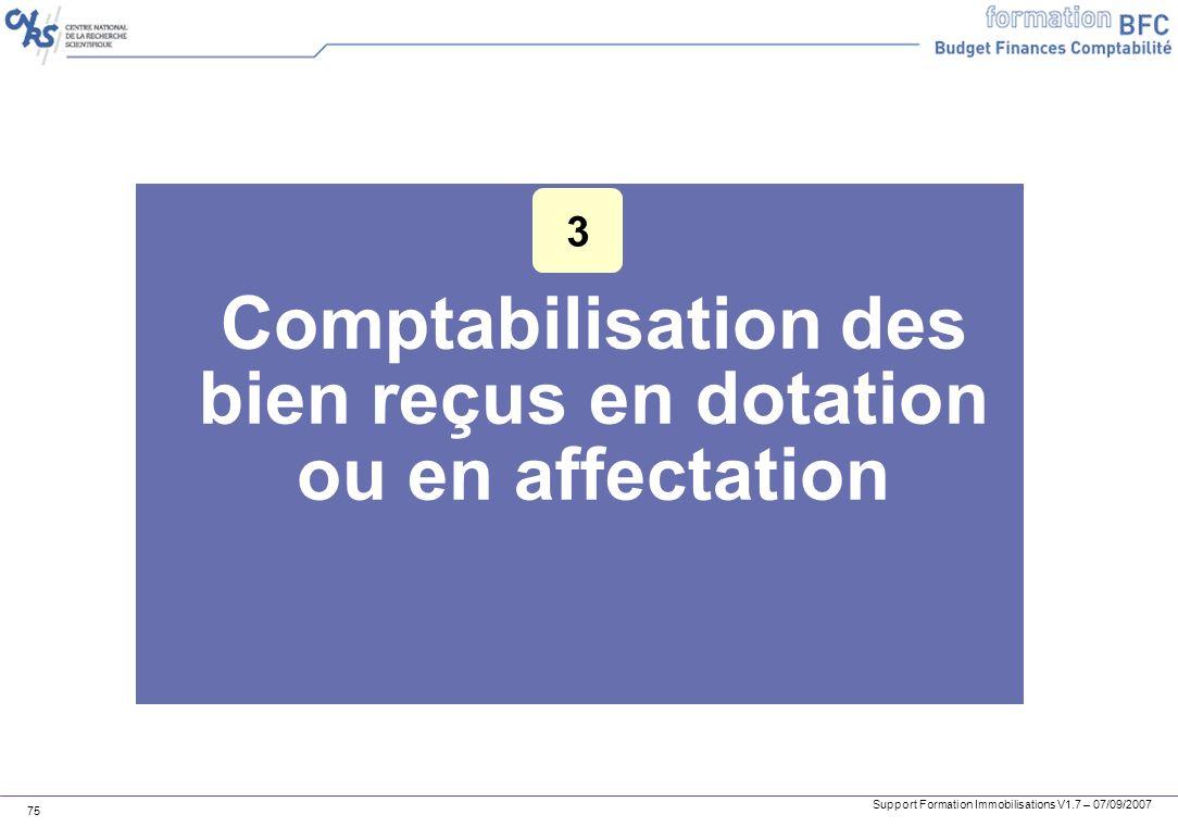 Comptabilisation des bien reçus en dotation ou en affectation