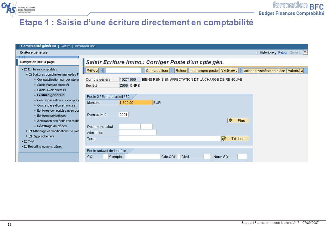 Etape 1 : Saisie d'une écriture directement en comptabilité