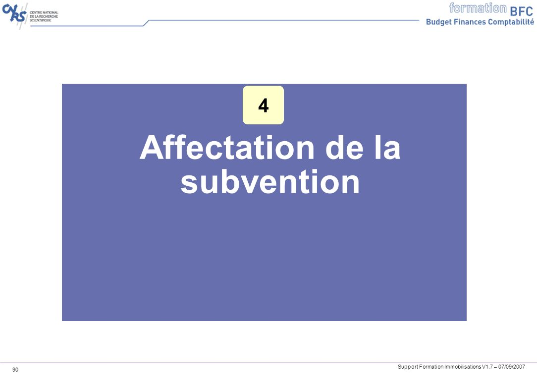 Affectation de la subvention