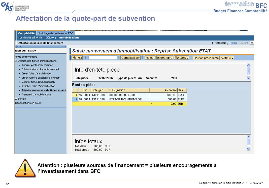 Affectation de la quote-part de subvention