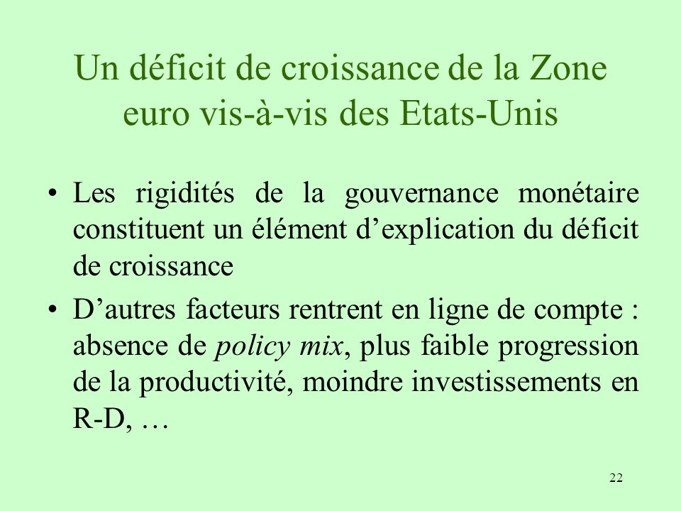 Un déficit de croissance de la Zone euro vis-à-vis des Etats-Unis