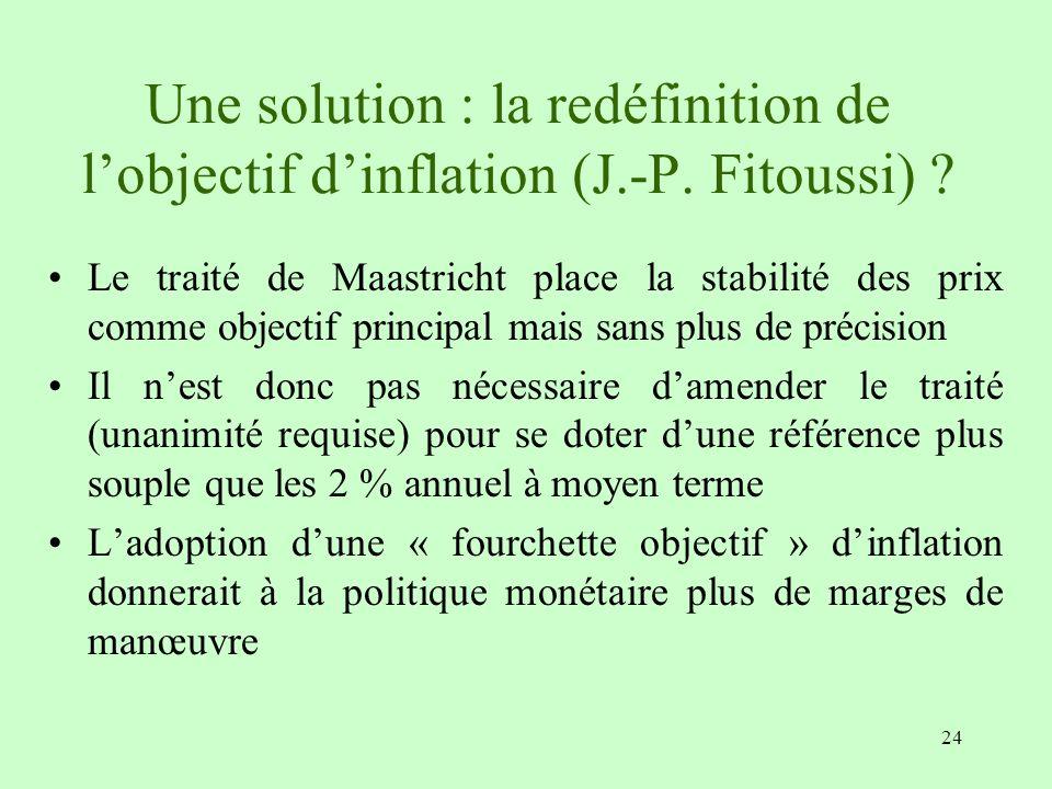 Une solution : la redéfinition de l'objectif d'inflation (J. -P