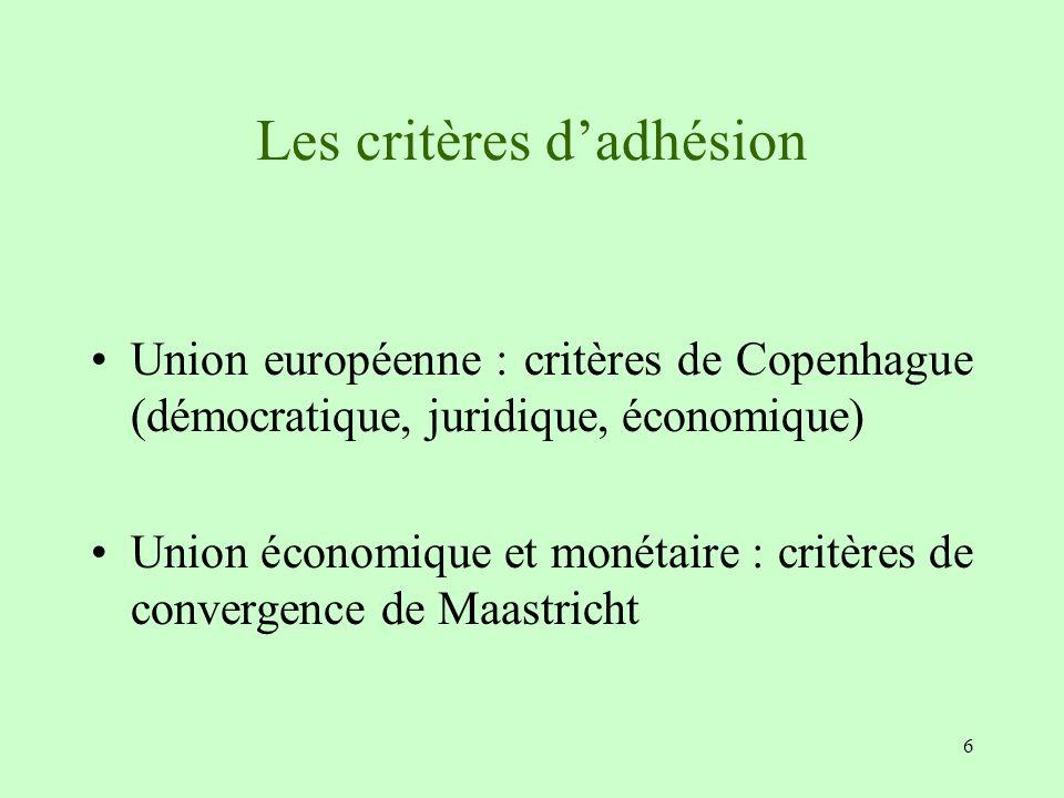 Les critères d'adhésion