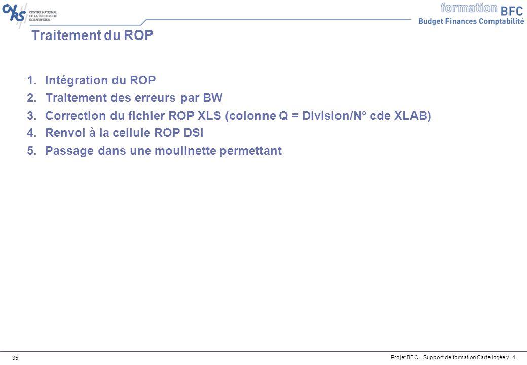 Traitement du ROP Intégration du ROP Traitement des erreurs par BW