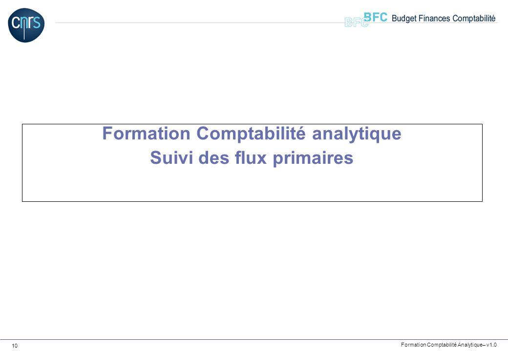 Formation Comptabilité analytique Suivi des flux primaires