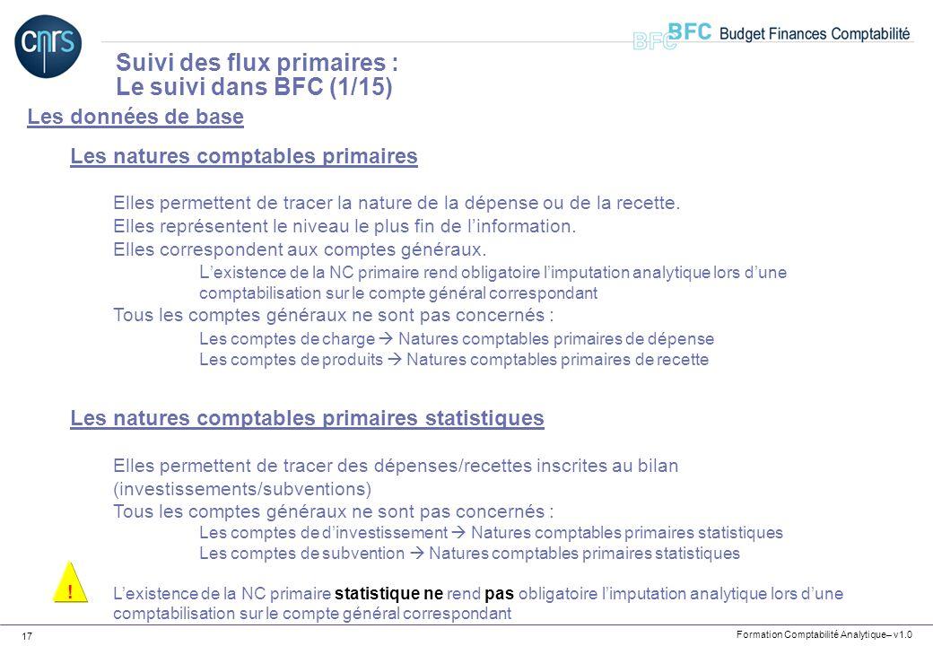Suivi des flux primaires : Le suivi dans BFC (1/15)