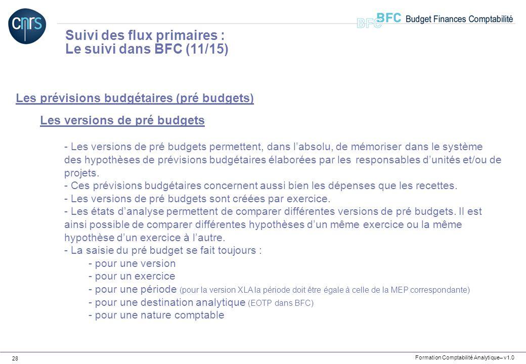 Suivi des flux primaires : Le suivi dans BFC (11/15)