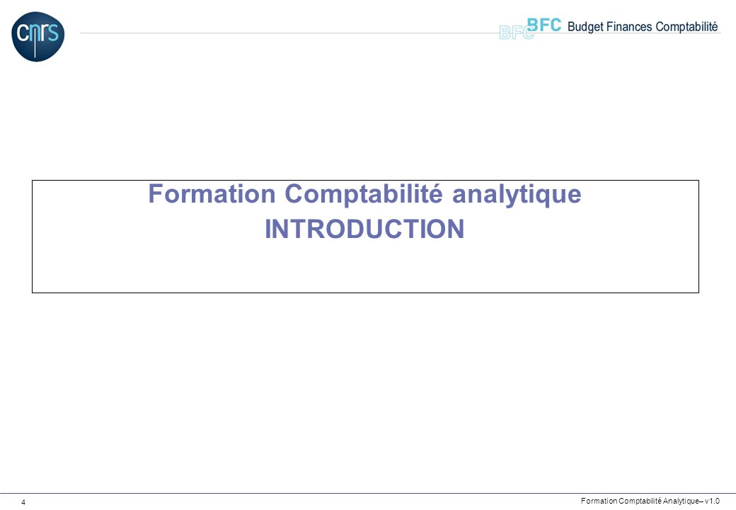 Formation Comptabilité analytique INTRODUCTION