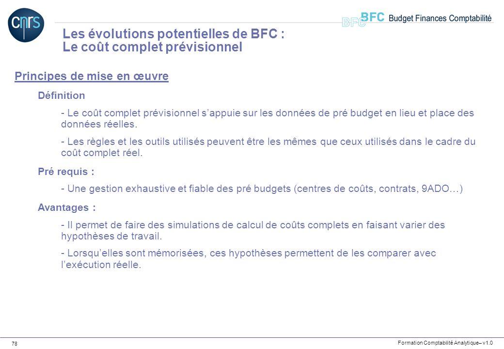 Les évolutions potentielles de BFC : Le coût complet prévisionnel