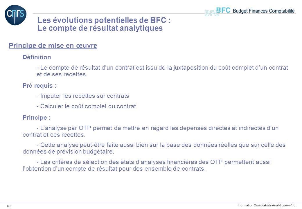 Les évolutions potentielles de BFC : Le compte de résultat analytiques