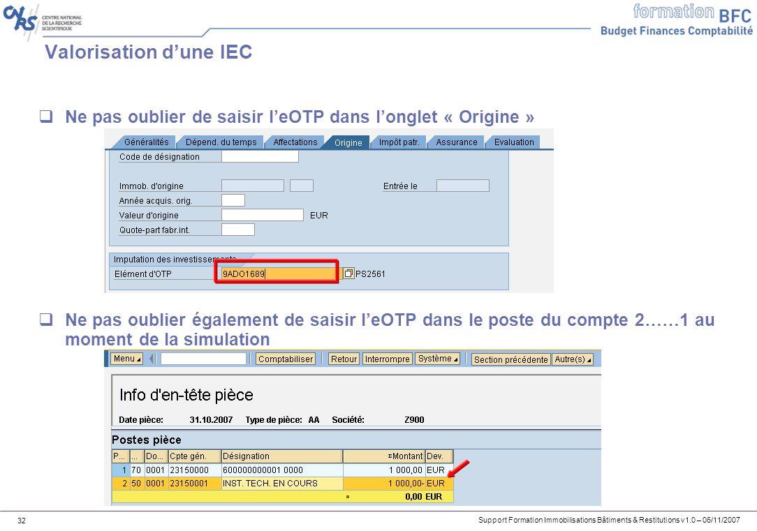 Valorisation d'une IEC