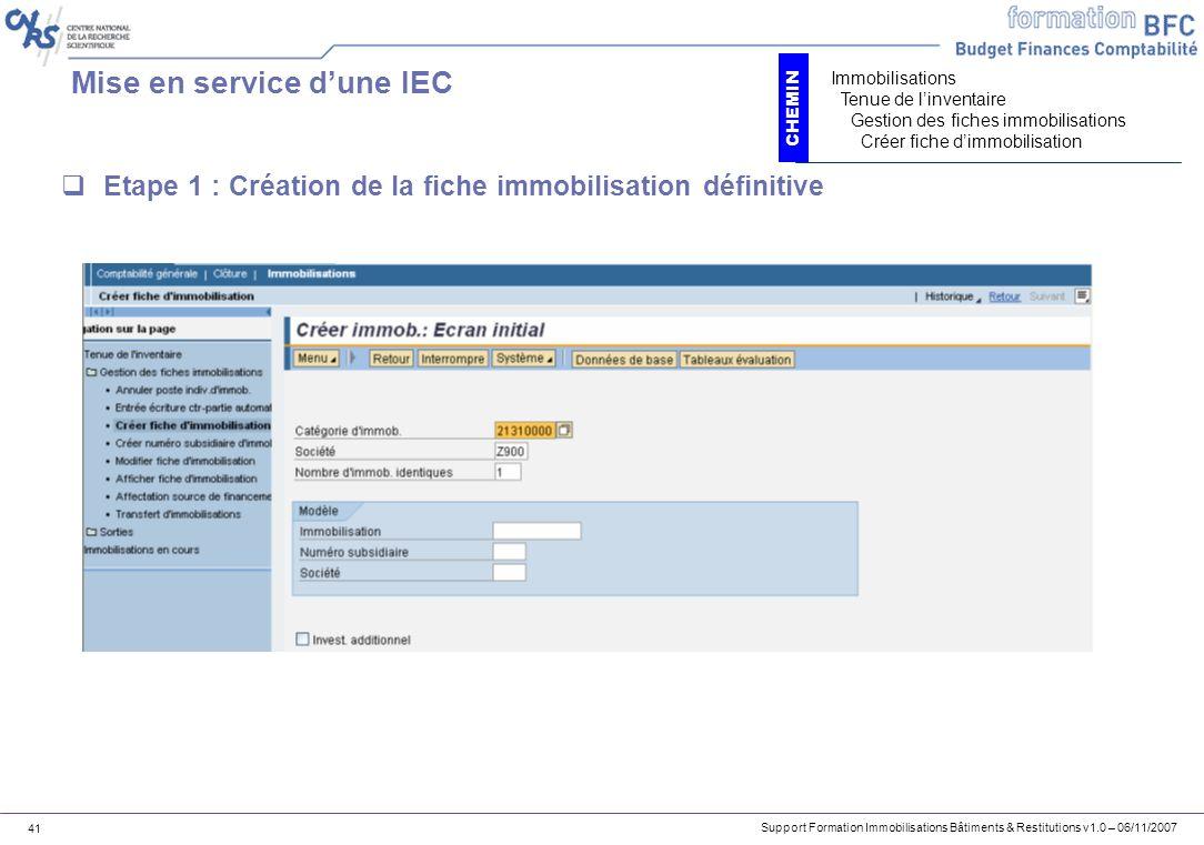Mise en service d'une IEC