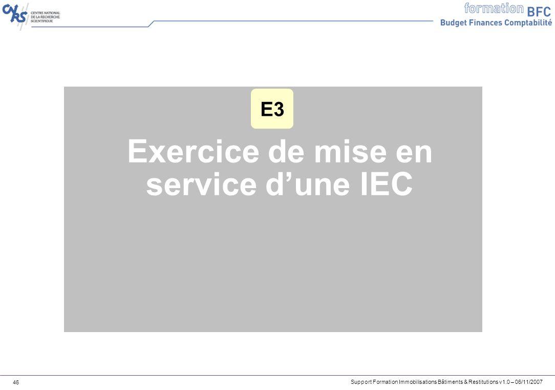 Exercice de mise en service d'une IEC