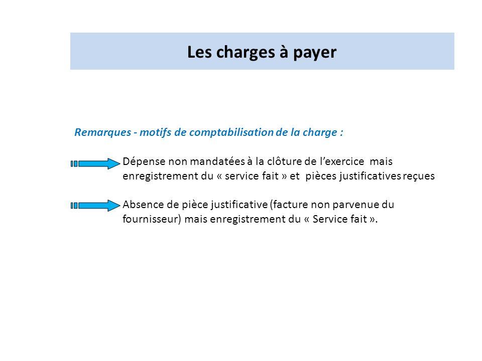 Les charges à payer Remarques - motifs de comptabilisation de la charge :