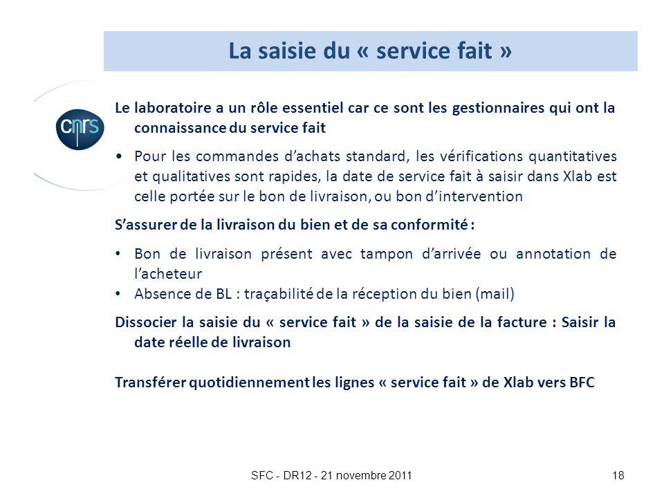 La saisie du « service fait »