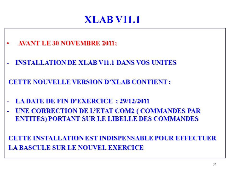 XLAB V11.1 AVANT LE 30 NOVEMBRE 2011: