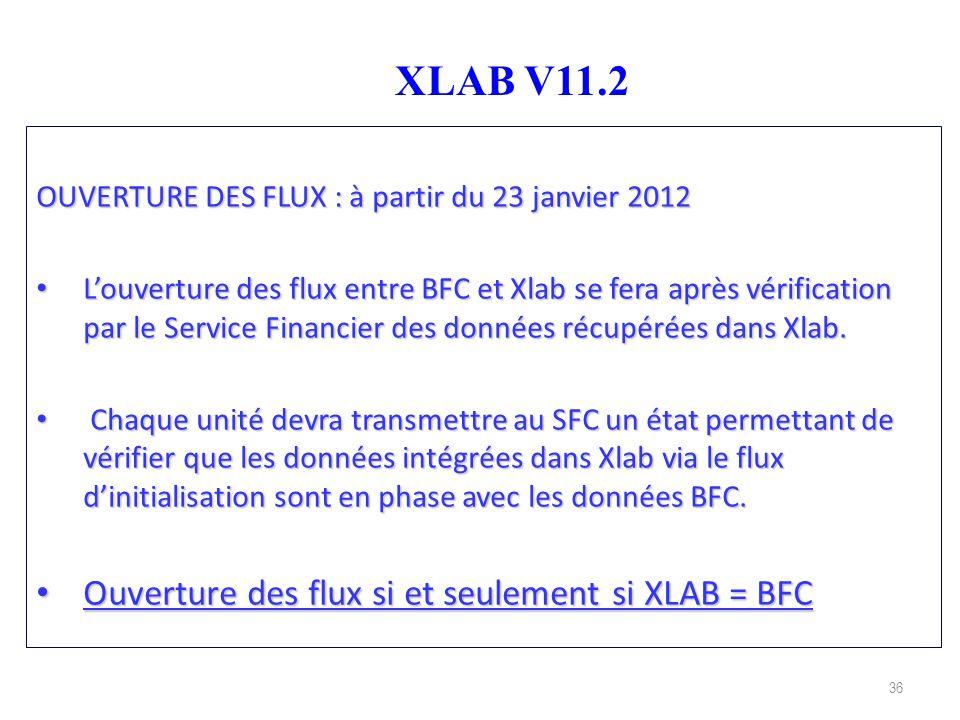 XLAB V11.2 Ouverture des flux si et seulement si XLAB = BFC