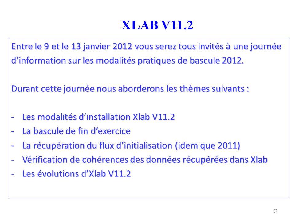 XLAB V11.2 Entre le 9 et le 13 janvier 2012 vous serez tous invités à une journée. d'information sur les modalités pratiques de bascule 2012.