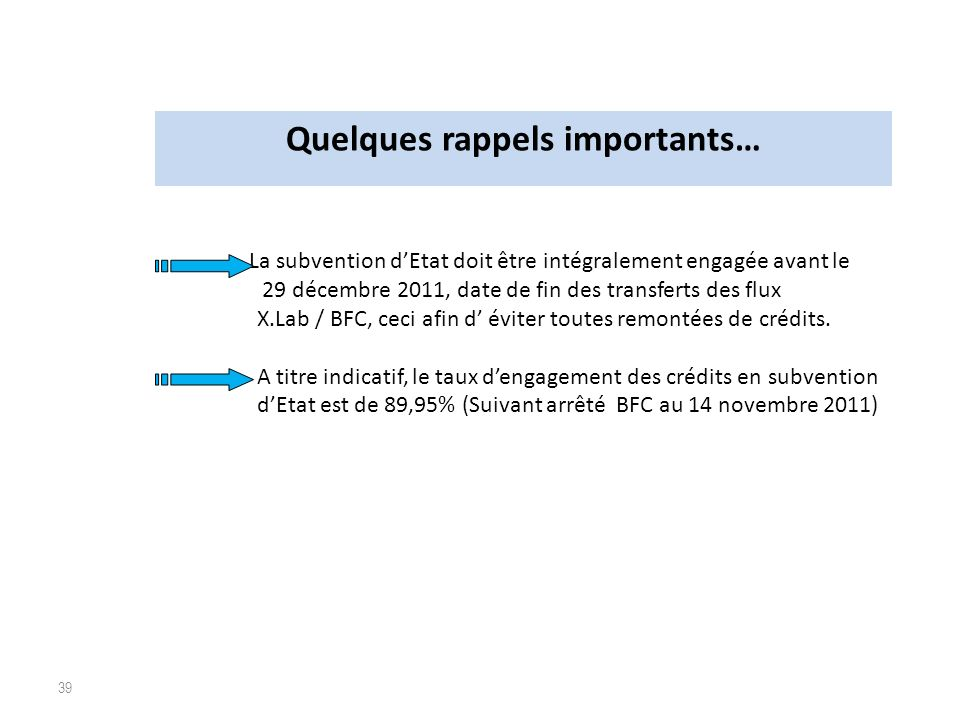 Quelques rappels importants…