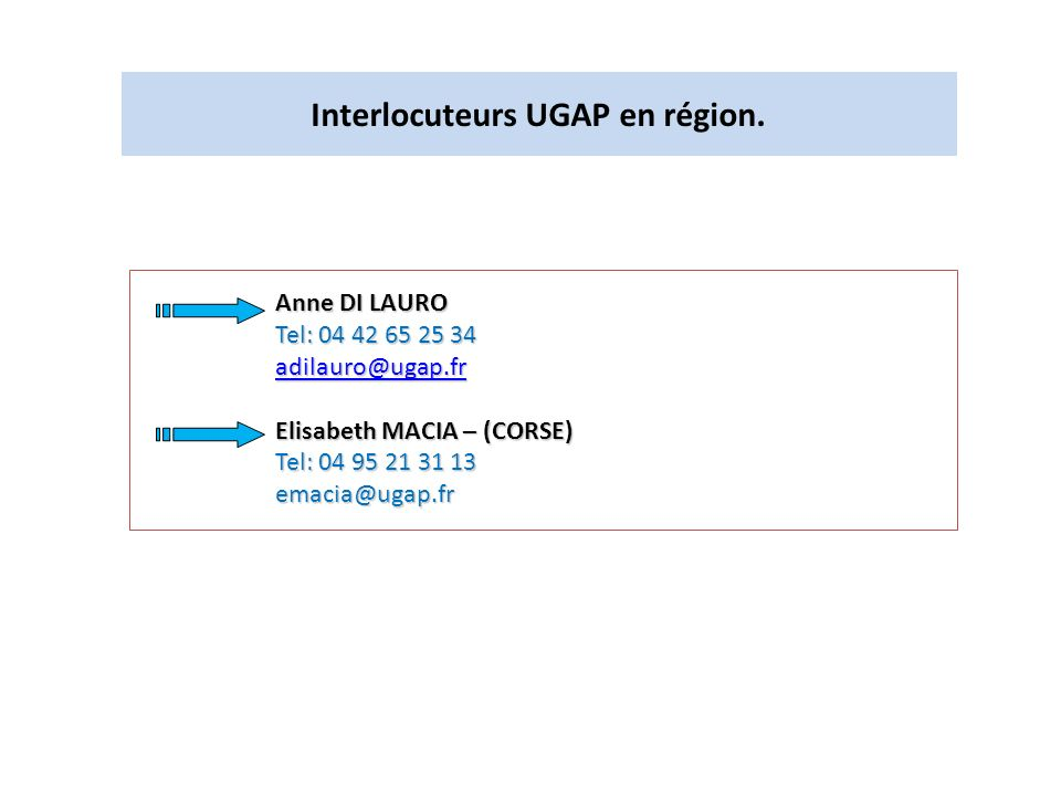 Interlocuteurs UGAP en région.