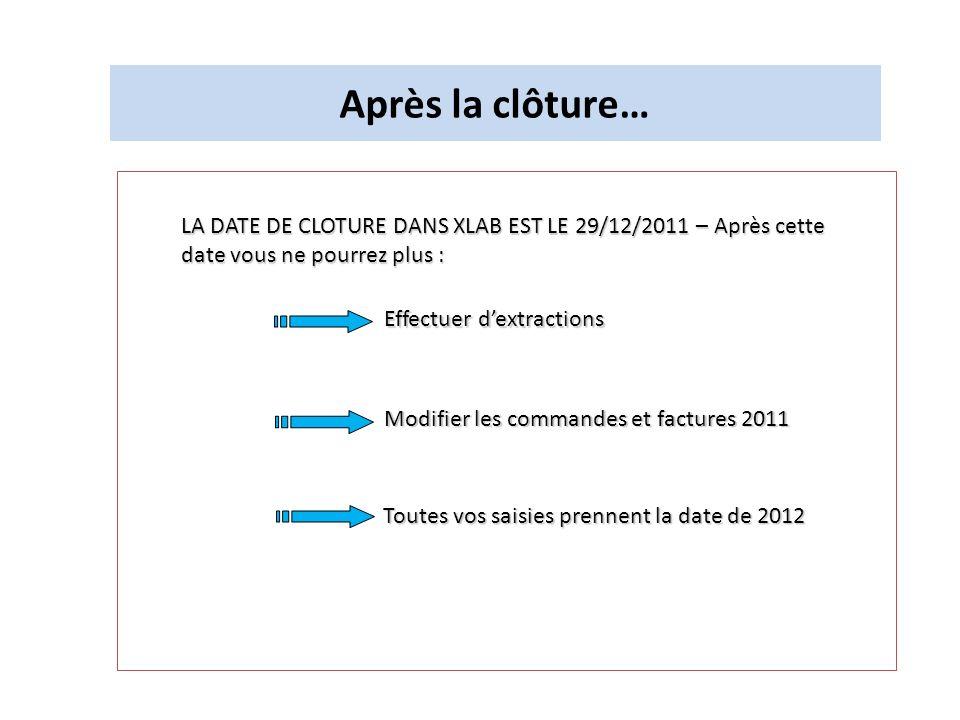 Après la clôture… LA DATE DE CLOTURE DANS XLAB EST LE 29/12/2011 – Après cette date vous ne pourrez plus :