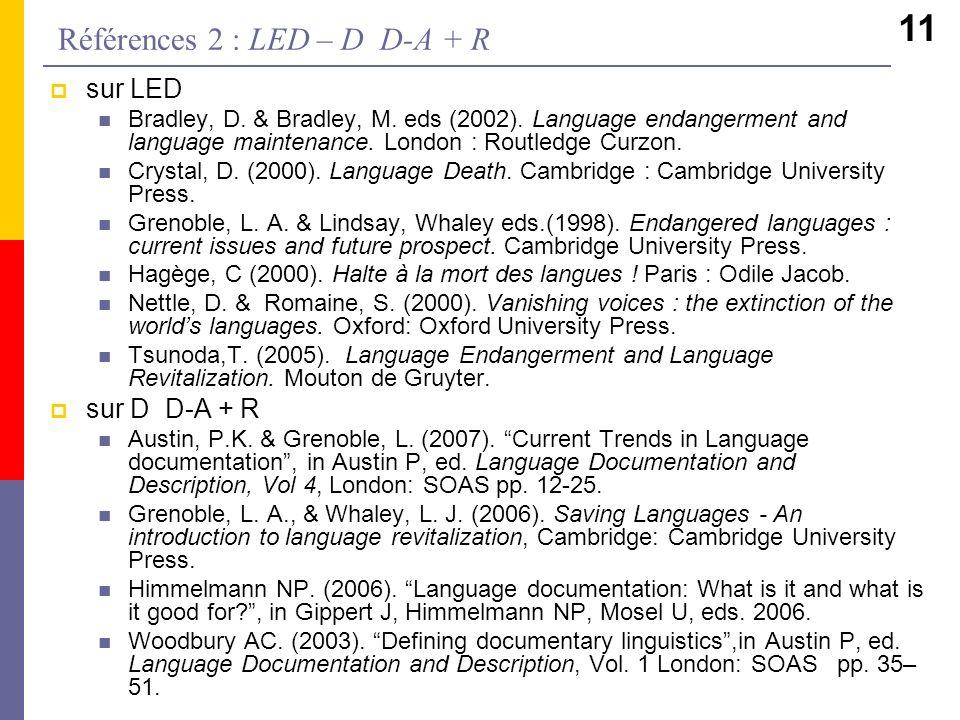 Références 2 : LED – D D-A + R