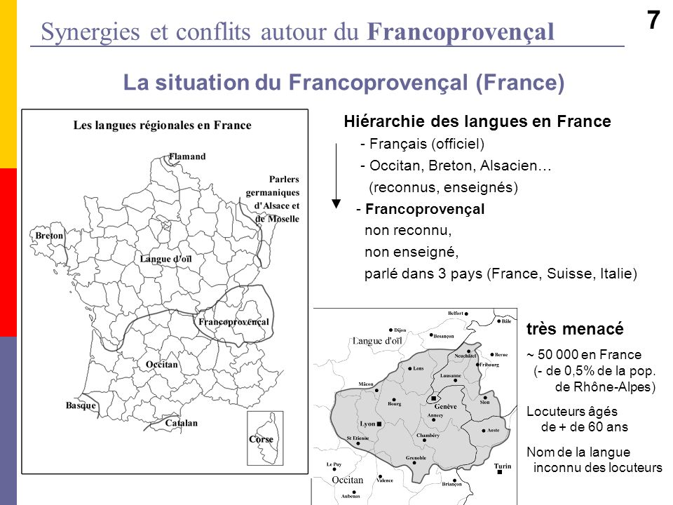 Synergies et conflits autour du Francoprovençal