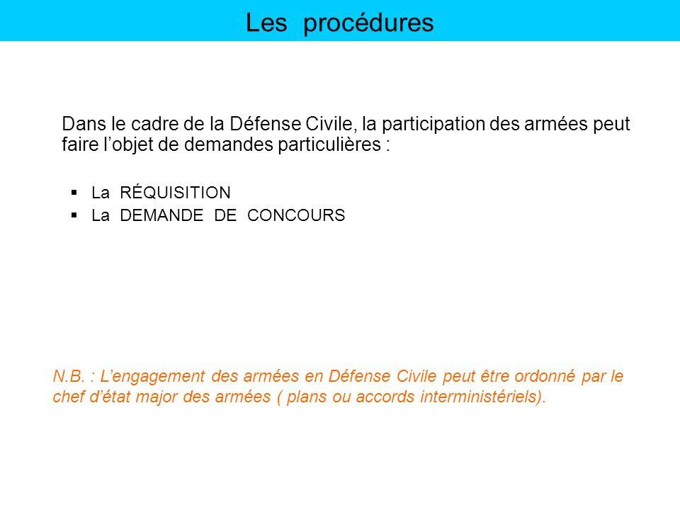 Les procédures Dans le cadre de la Défense Civile, la participation des armées peut faire l'objet de demandes particulières :