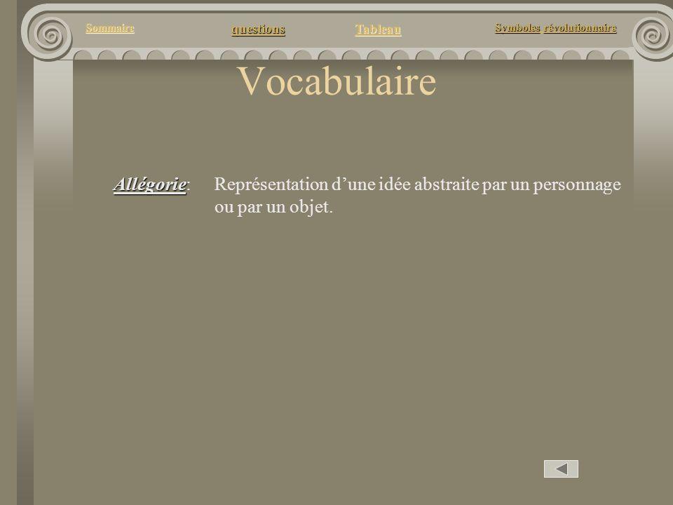 Vocabulaire Allégorie: Représentation d'une idée abstraite par un personnage ou par un objet.
