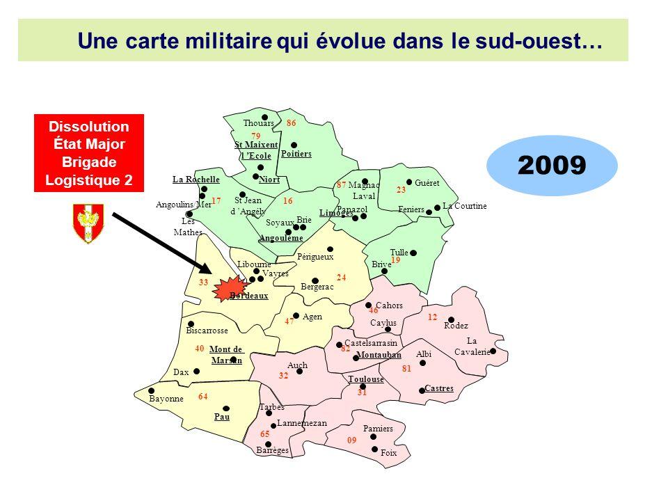 2009 Une carte militaire qui évolue dans le sud-ouest…