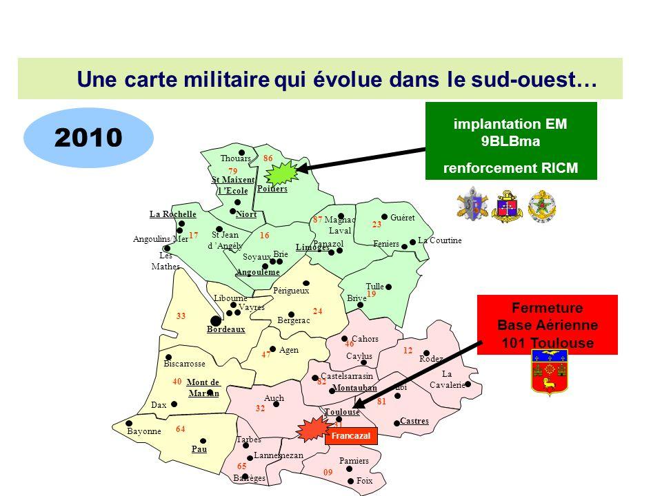 2010 Une carte militaire qui évolue dans le sud-ouest…