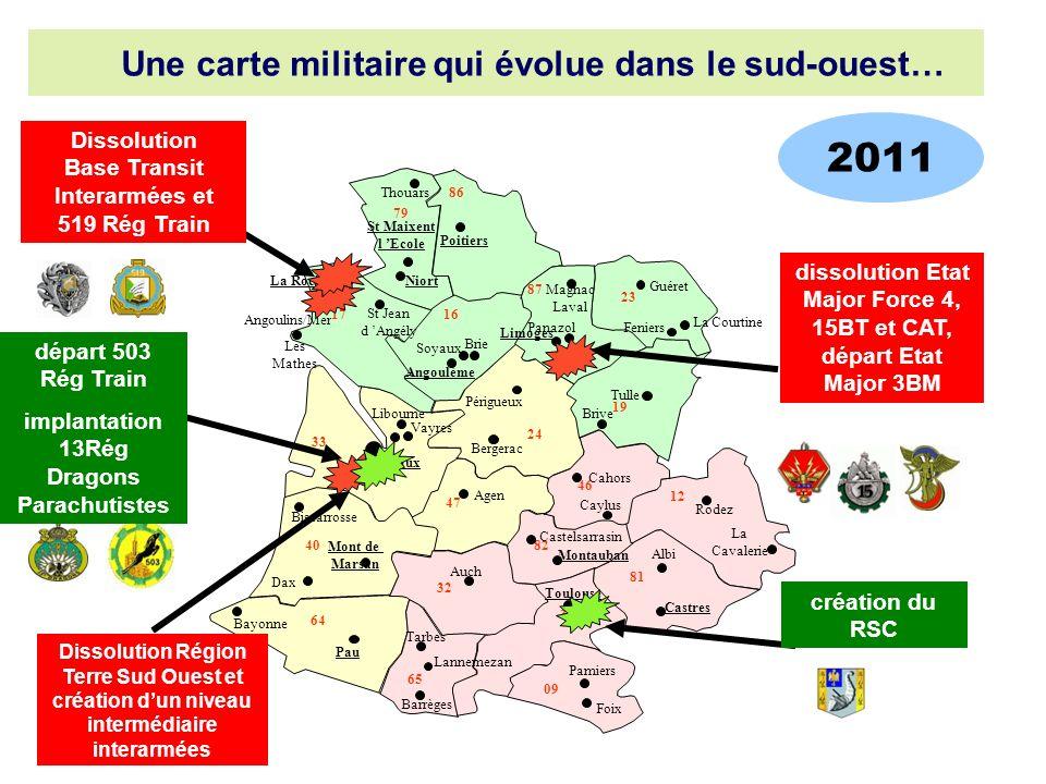 2011 Une carte militaire qui évolue dans le sud-ouest…