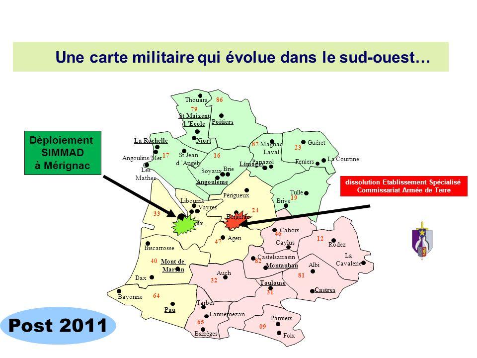 Une carte militaire qui évolue dans le sud-ouest…