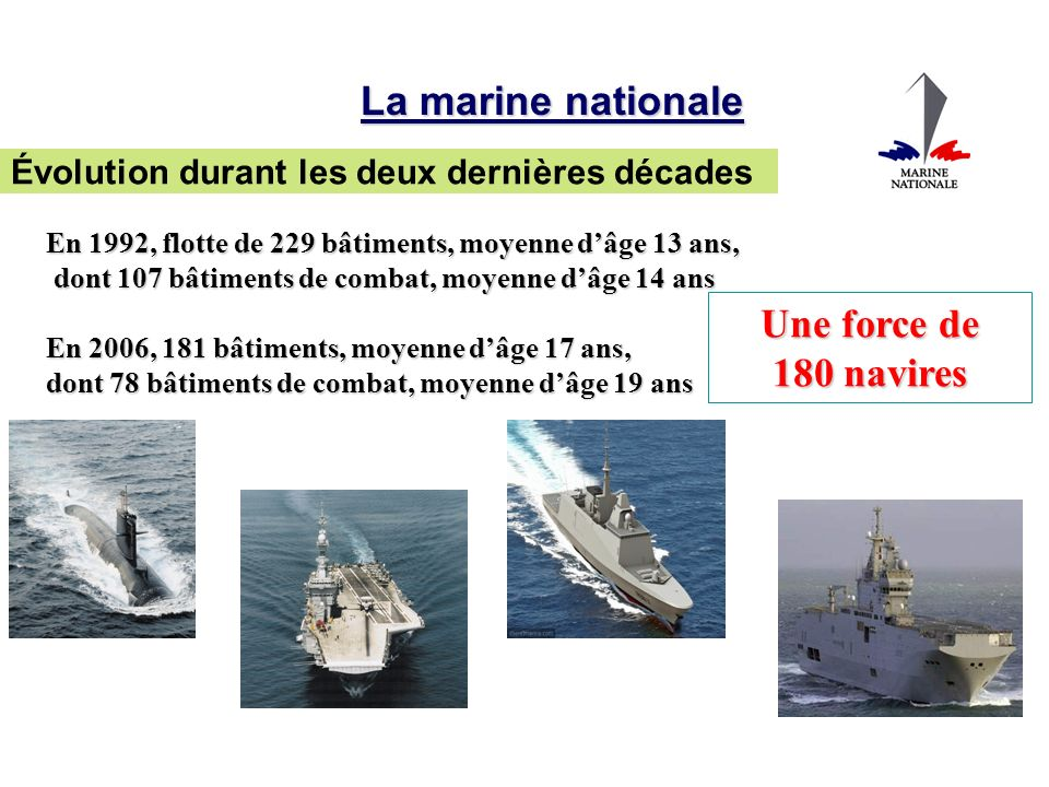 La marine nationale Une force de 180 navires
